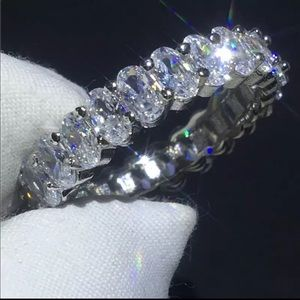 Sterling Silver Cubic Zirconia Ring Wedding Band